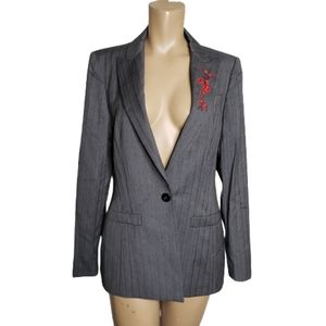 Escada marganeta ley stripes blazer embroidered 36